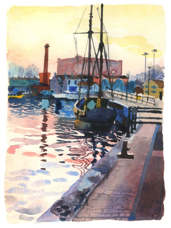 Image of Boat on the Floating Harbour, Dusk