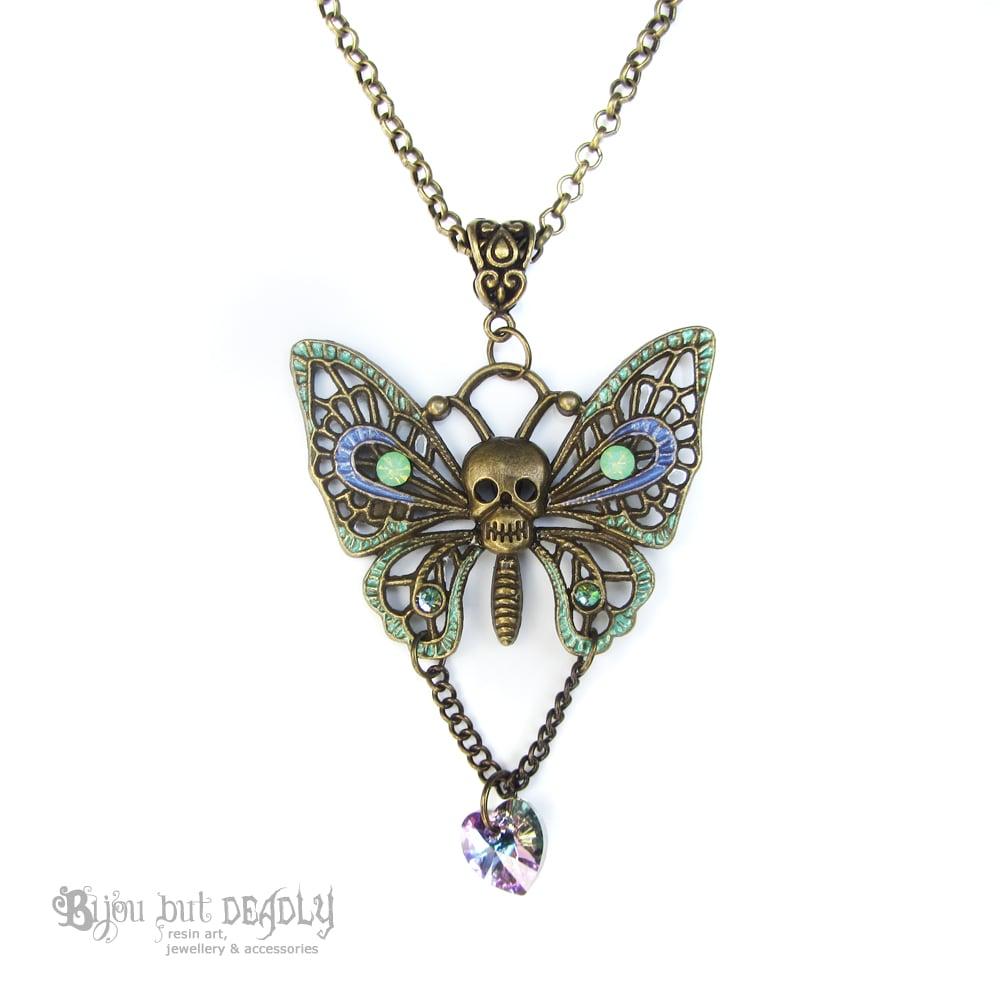 Enamel Skull Butterfly Necklace - Bronze