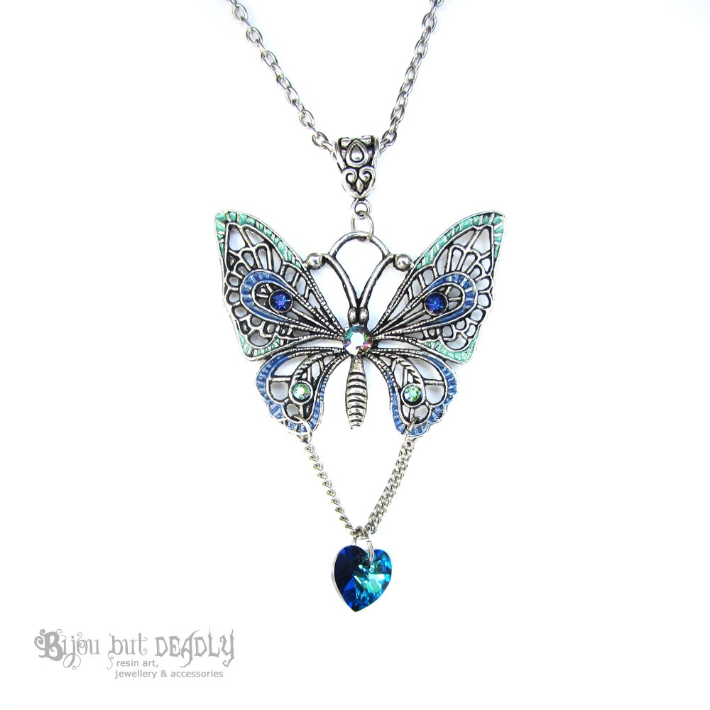 Image of Silver Filigree Butterfly Necklace