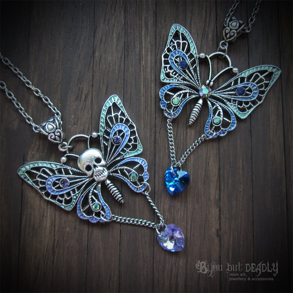 Enamel Crystal Butterfly Necklace - Silver