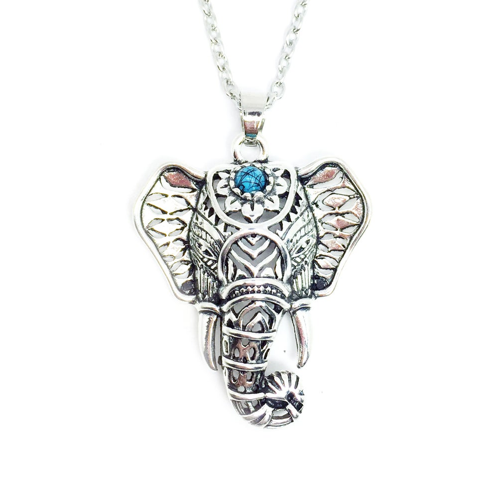 Image of Bohemian Elephant Necklace Silver
