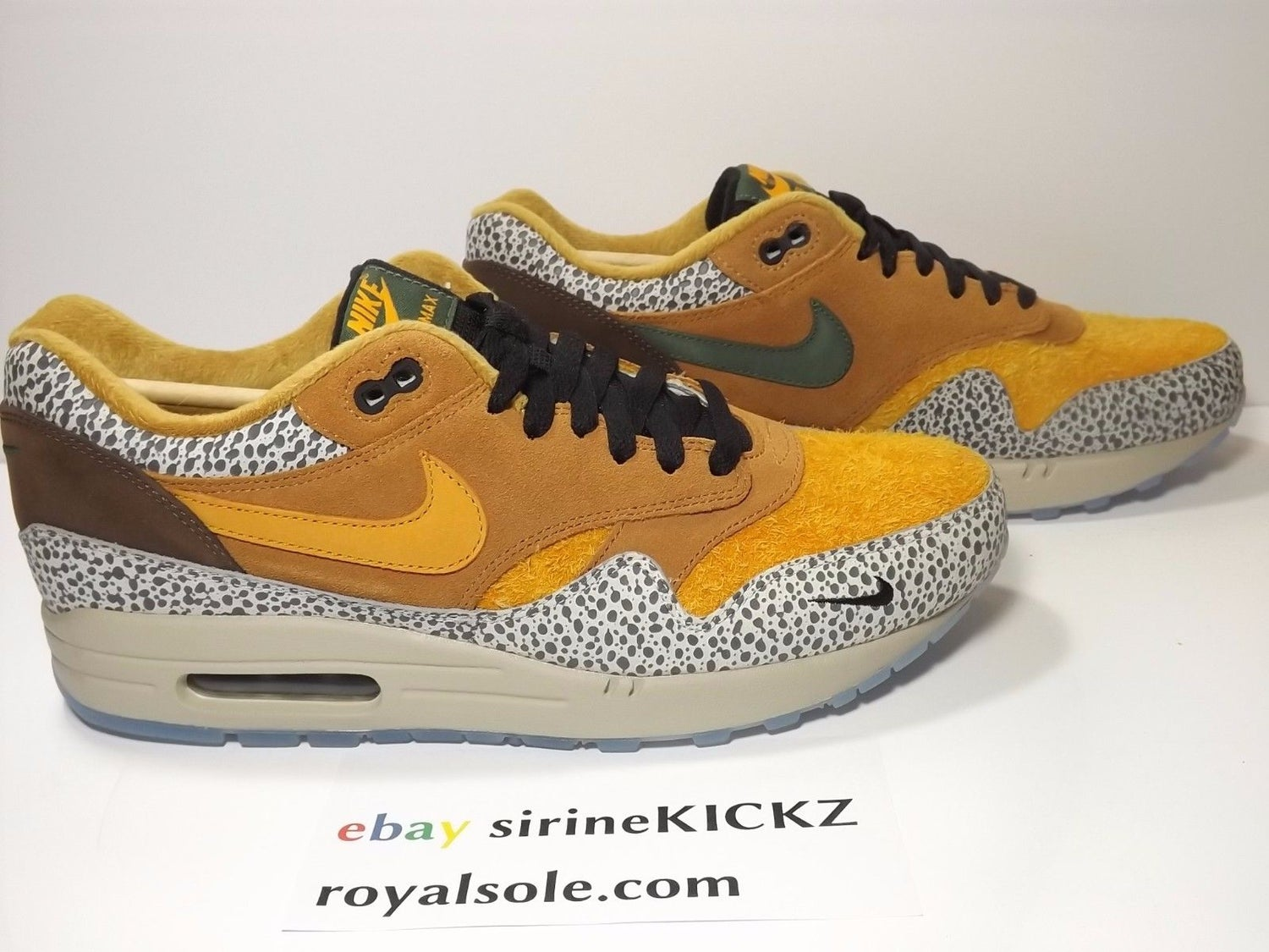 Image of Nike Air Max 1 Atmos Safari Premium QS Flax Kumquat Chestnut 665873-200