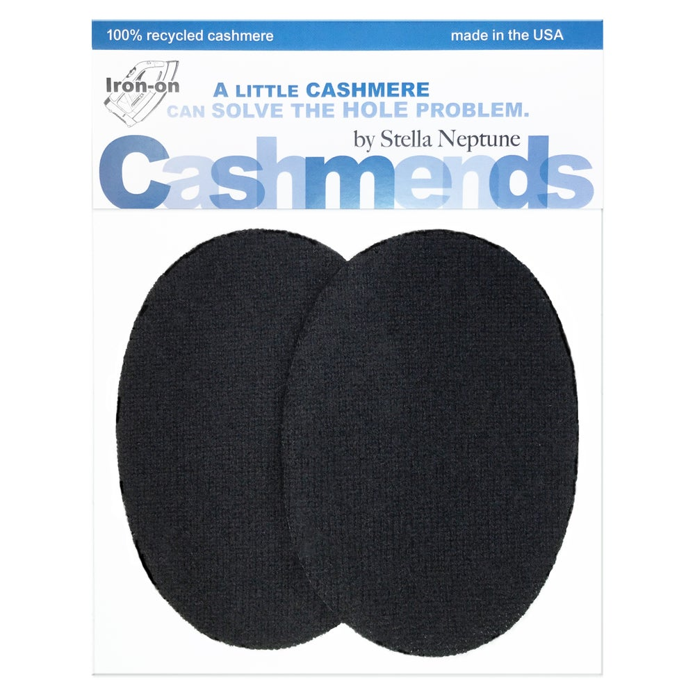 Image of IRON-ON CASHMERE ELBOW PATCHES - BLACK OVALS
