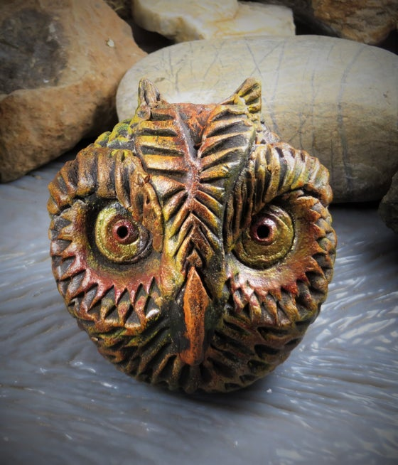 Image of Custom Owl-Totem Power Animal Rattle- Ceramic Sculpture