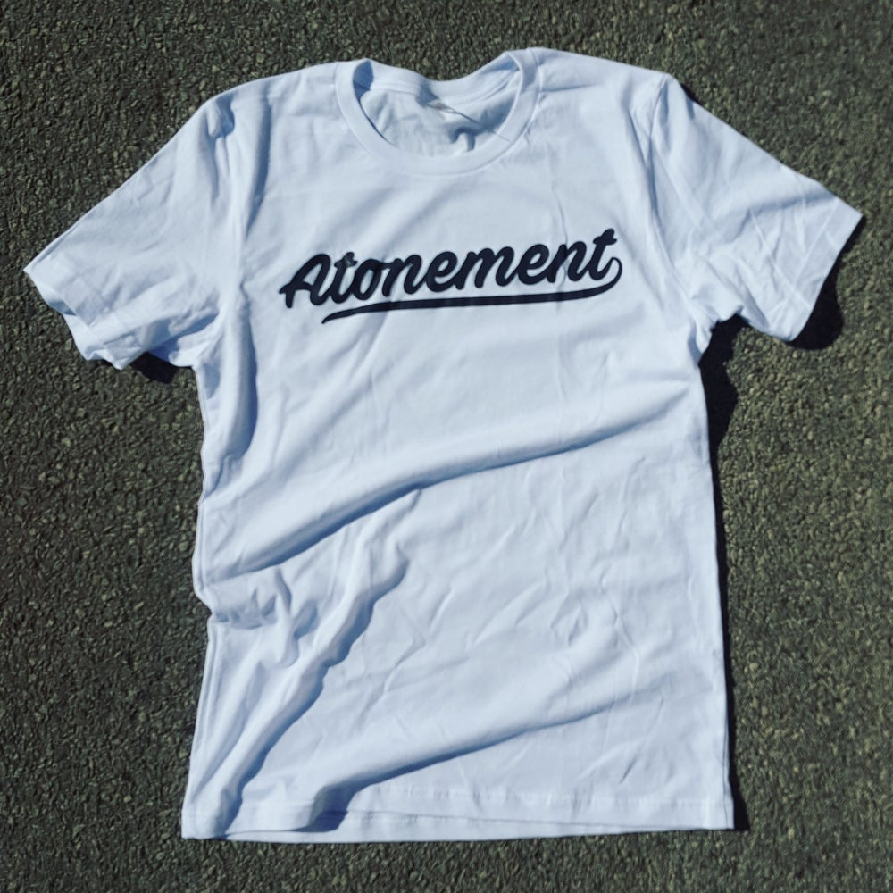 """Image of The """"Atonement Script"""" Tee in White"""