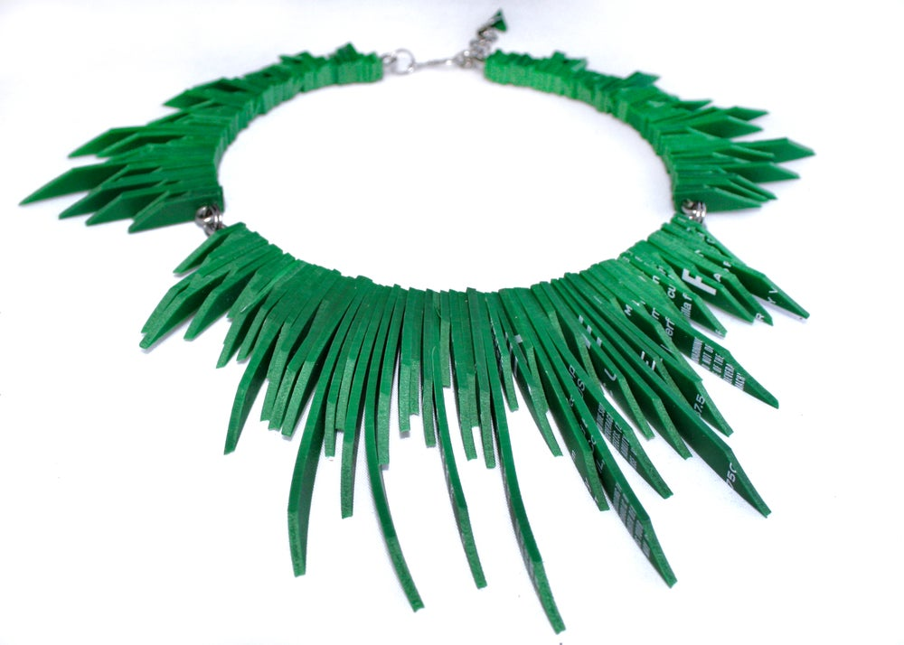 Image of Spirit V.3 Necklace - Green Rubber Statement Necklace