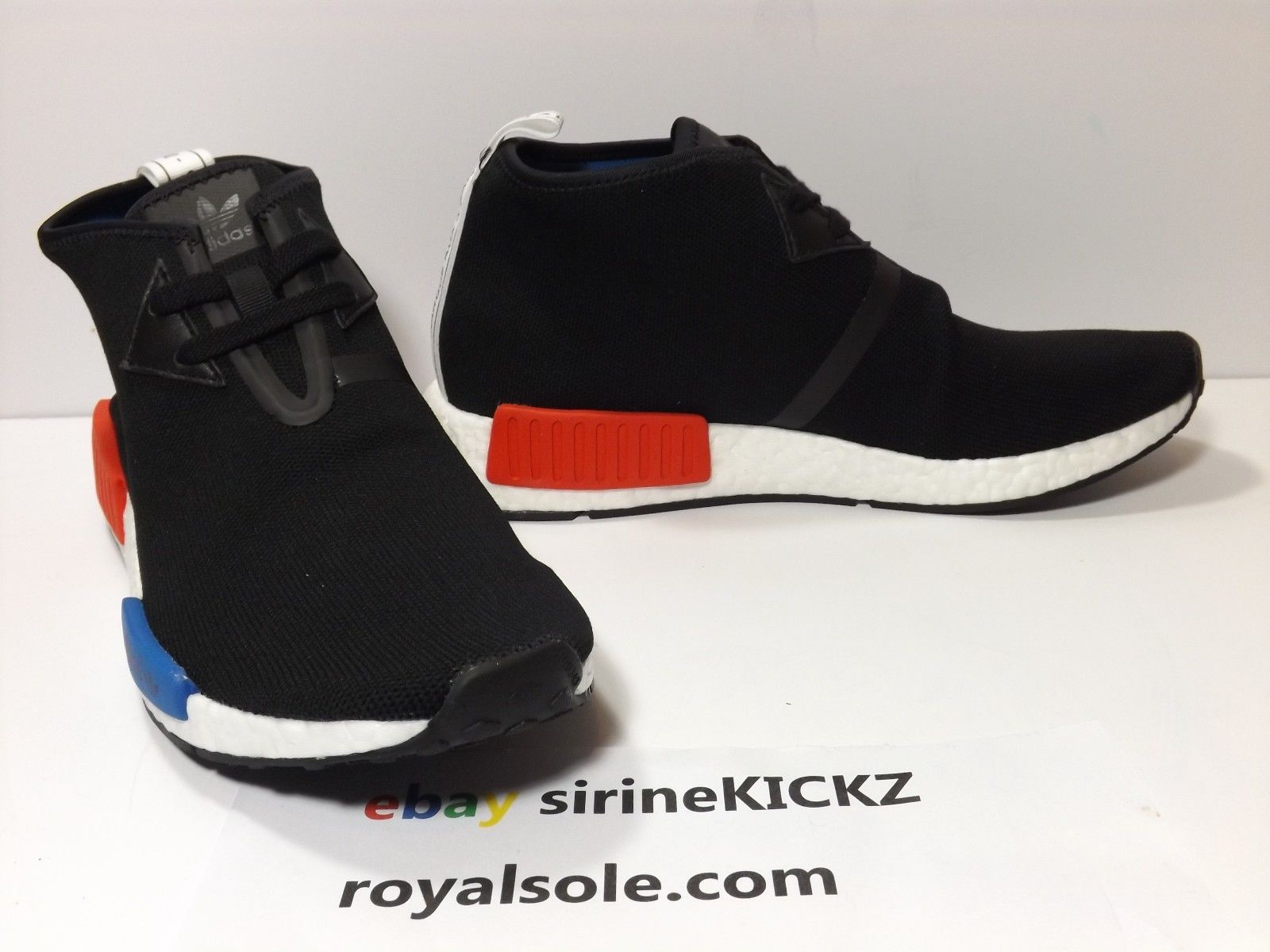 newest 1e392 0284d Adidas NMD C1 Chukka Core Black Red Lush Blue S79148