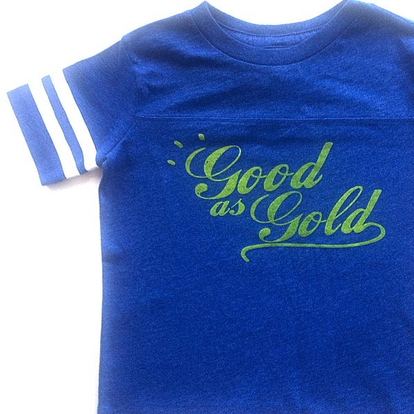Image of GOOD AS GOLD TODDLER FOOTBALL TEE/ MISPRINTS
