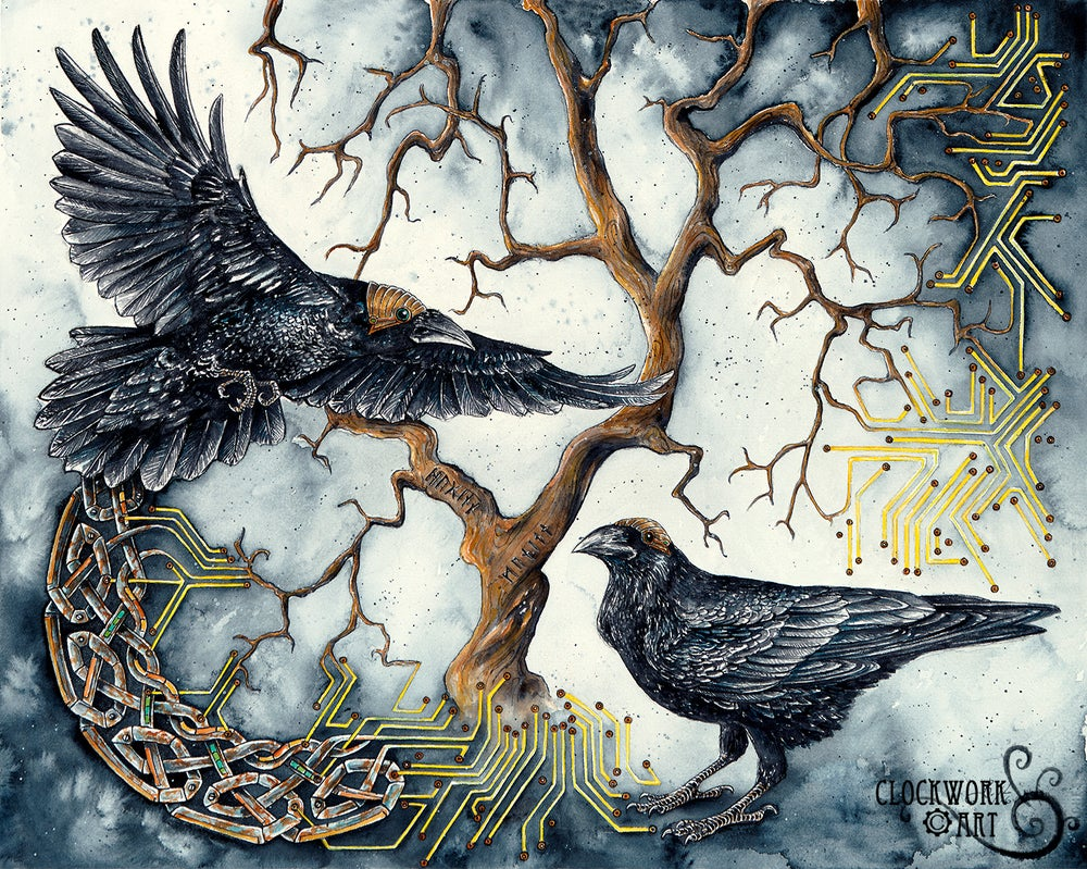 Image of Thought Memory Machine - Giclee Fine Art Print, Ravens