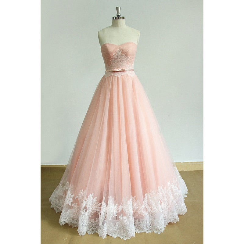 Beautiful Light Pink Long Tulle Prom Gown , Party Dresses, Pink Gowns