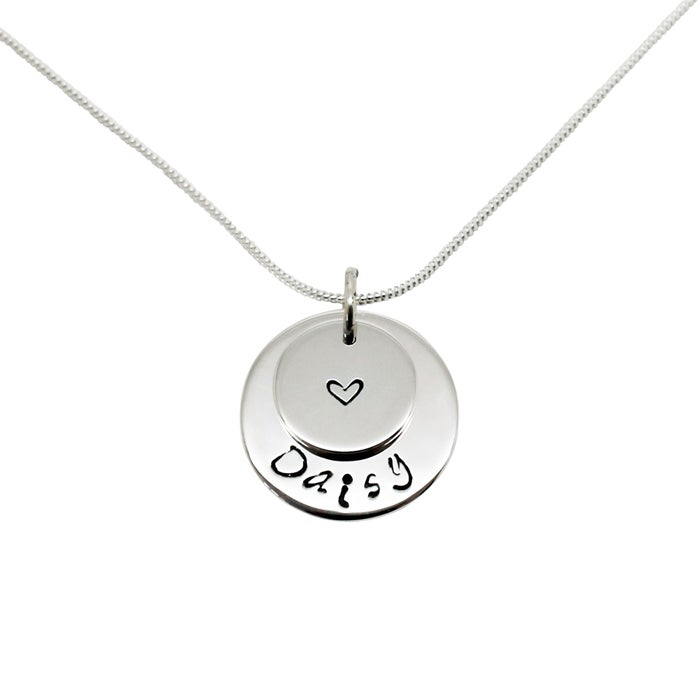 Image of Personalised double circle sterling silver necklace