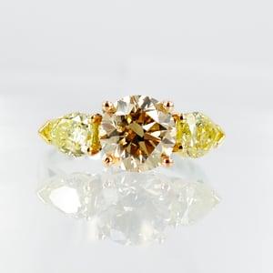 Image of 2.17ct Champagne Diamond & Fancy Yellow Diamond Engagement Ring