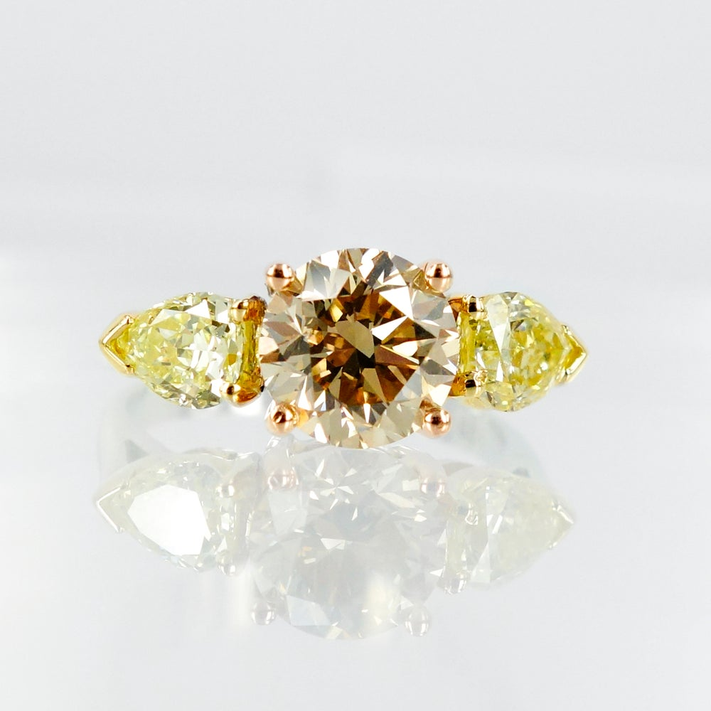 Image of 2.17ct Champagne Diamond & Fancy Yellow Diamond Engagement Ring