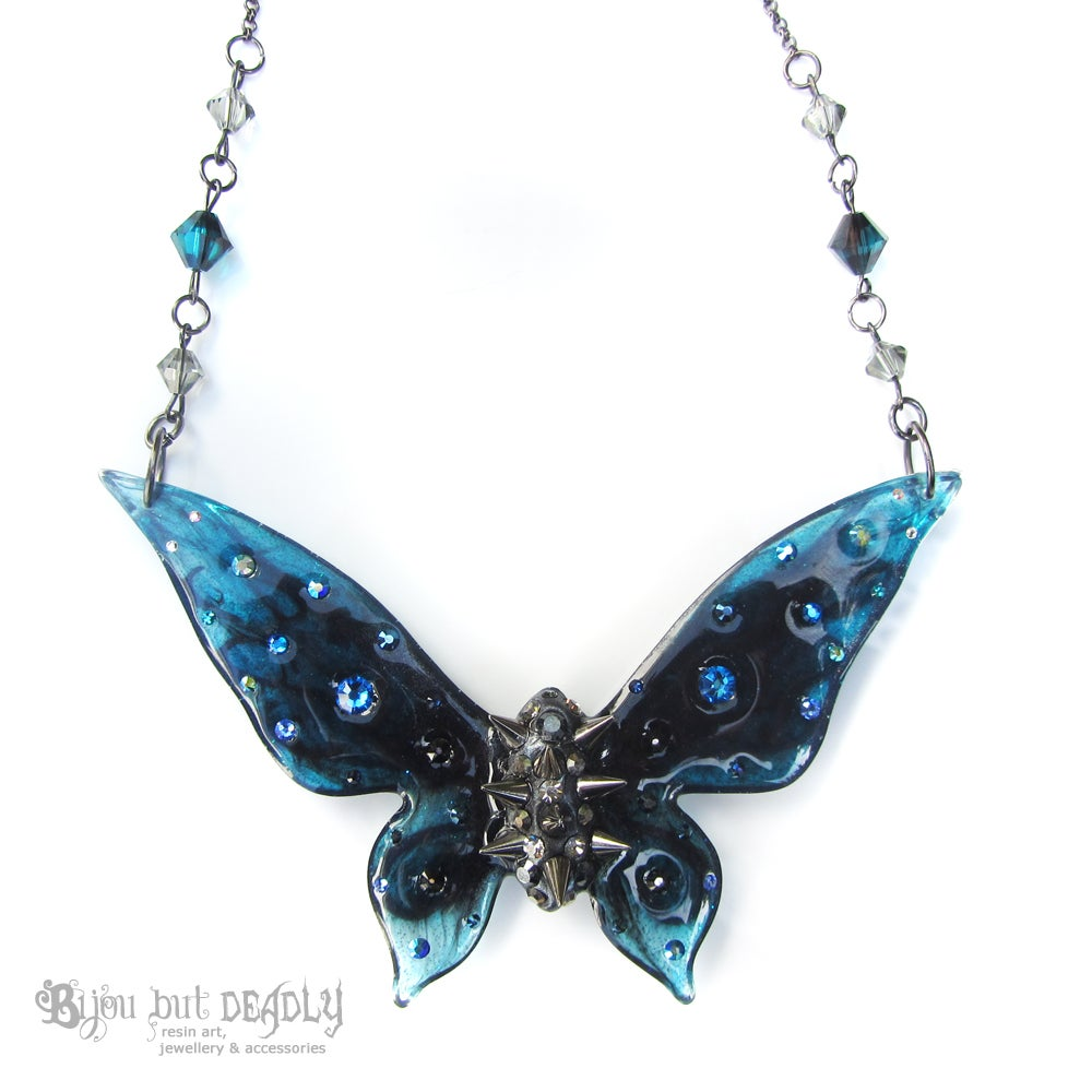 Navy, Teal & Black Spiked Butterfly Necklace - Large