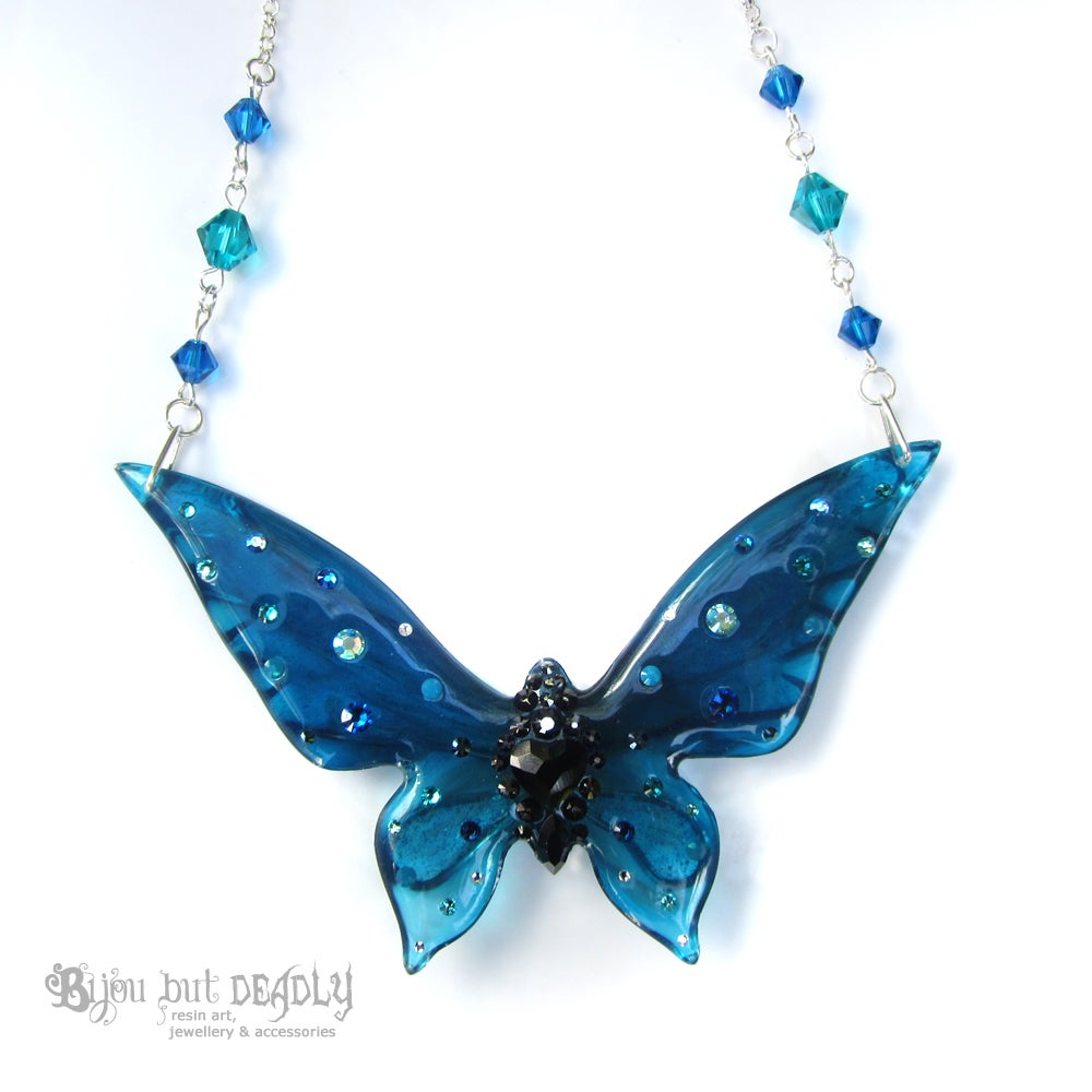 Teal & Capri Blue Butterfly Necklace - Large