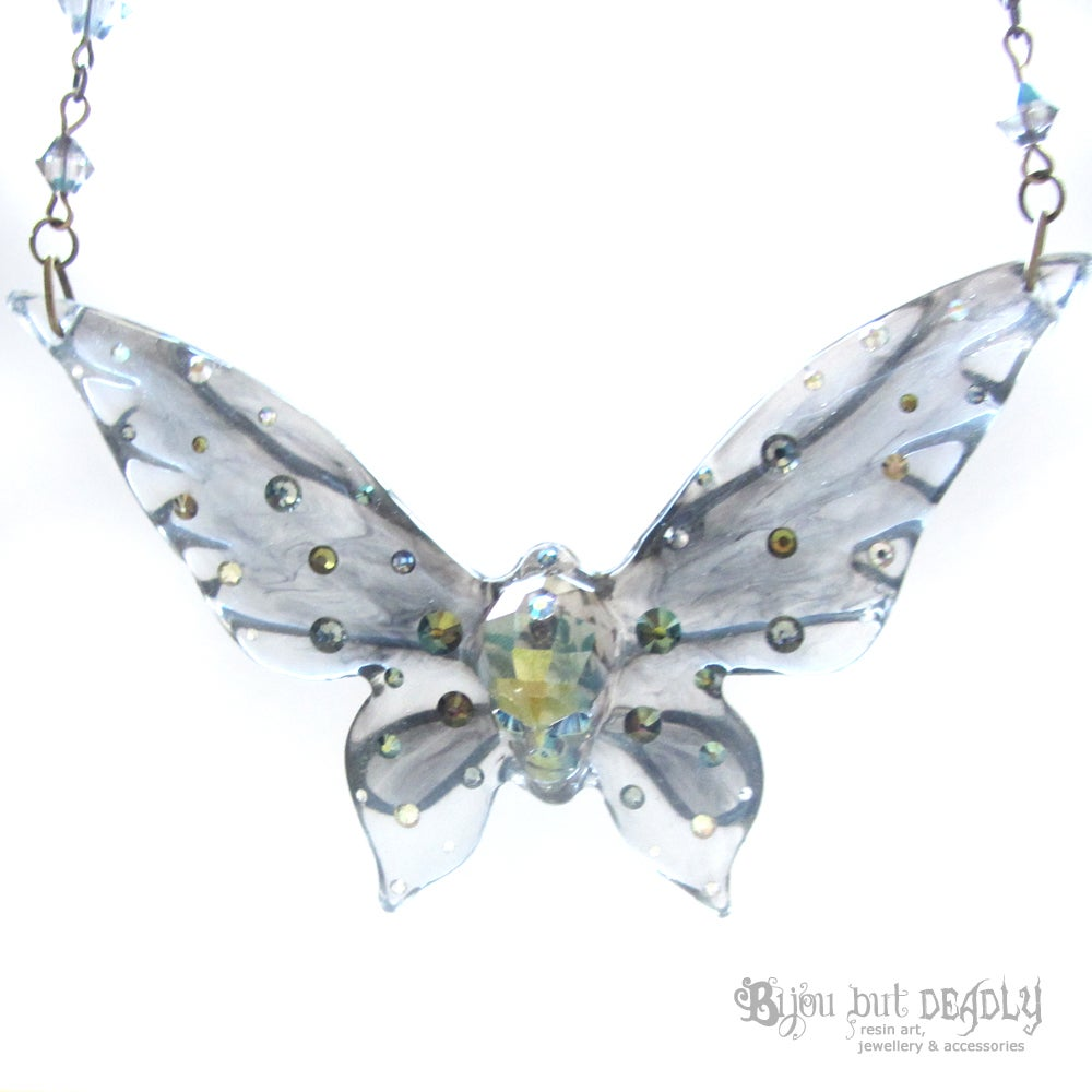 Ghost Skull Butterfly Necklace - Large