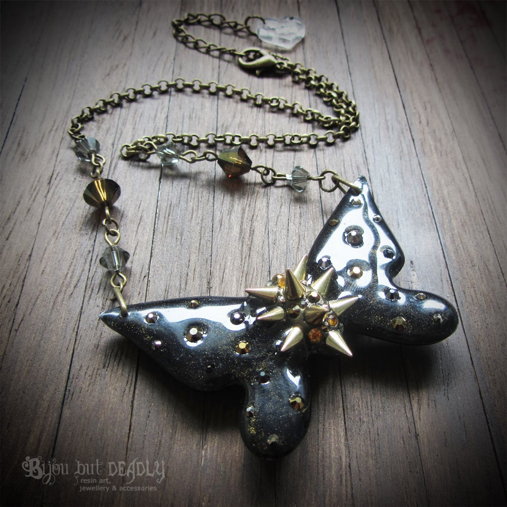 Black Spiked Butterfly Necklace - Small