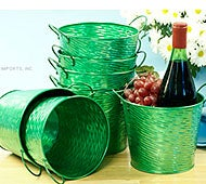 Image of Round Tin Pot Glossy Green