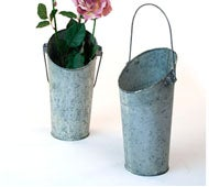 Image of Metal Wall Pocket Pail Vintage Galvanized