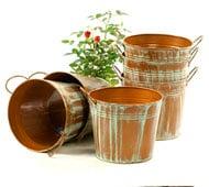 Image of Round Tin Pot side Handle Verdigris
