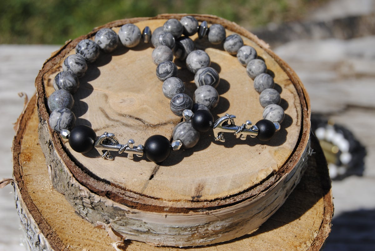 Image of 💑Couples Landscape Jasper Anchor Bracelet Set