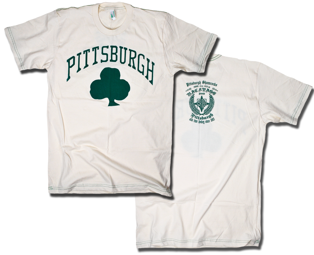Image of Pittsburgh Shamrocks custom 1935 hockey tee by Backpage Press
