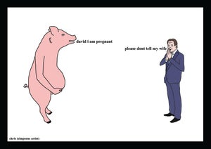 Image of David cameron and the pregnant pig