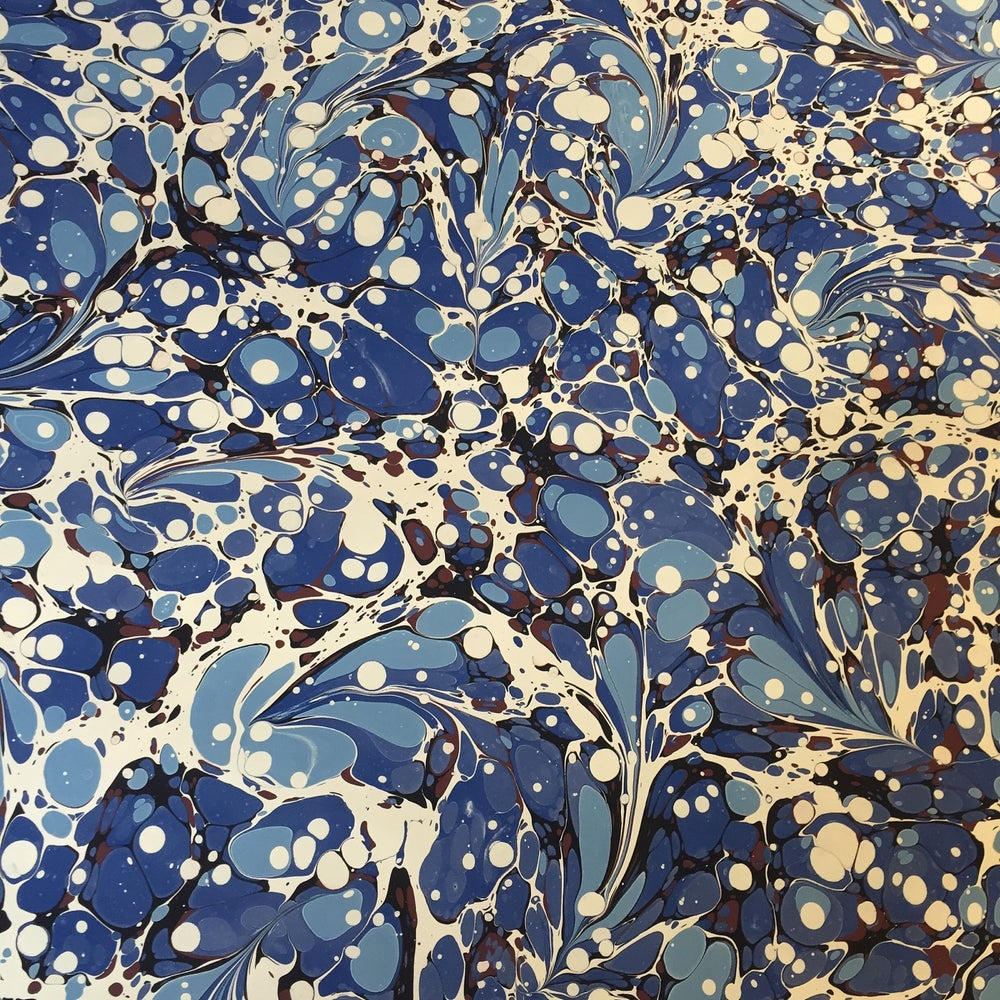 Image of Marbled Paper #52 modern blue floral