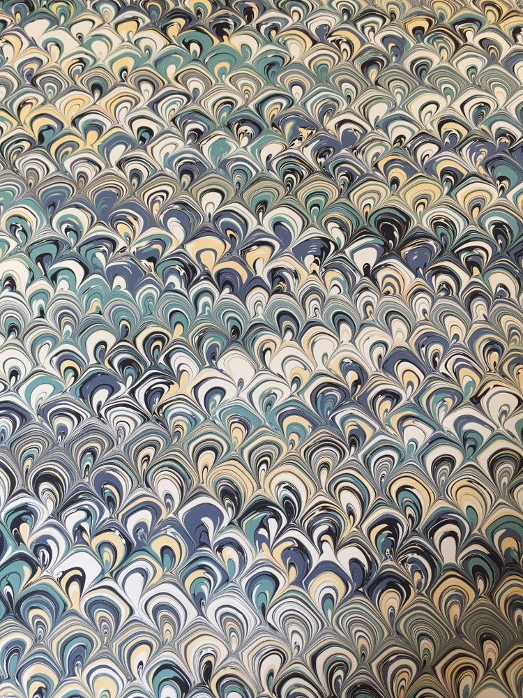 Image of Marbled Paper #5 'sea shells' Marbled Paper
