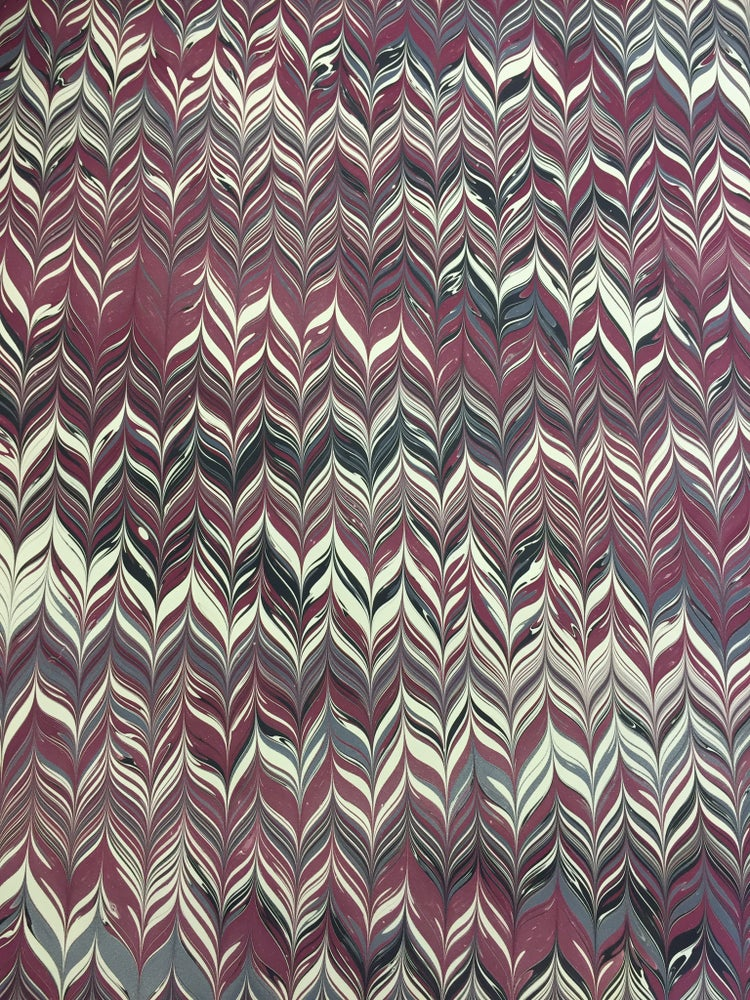 Image of Marbled Paper #58 small maroon chevron design