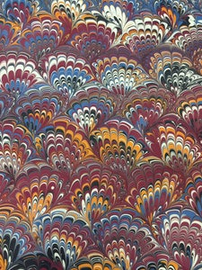 Image of Pattern #4 Peacock Marbled Paper