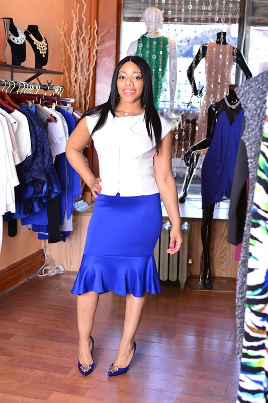 Image of Blue Peplum Skirt