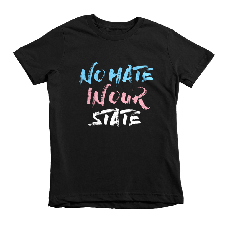 Image of No Hate In Our State T-shirt in Black - Youth size