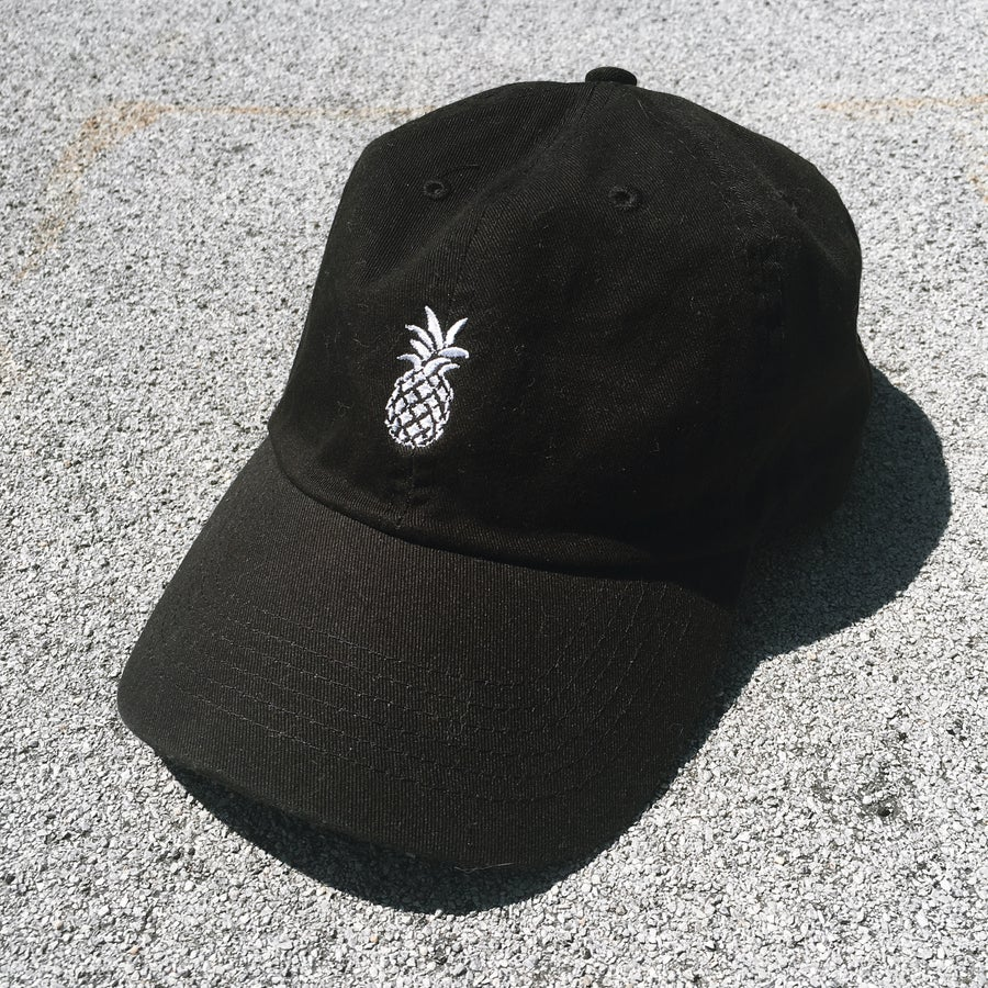 Image of Dancing Pineapple Black 6 Panel Hat