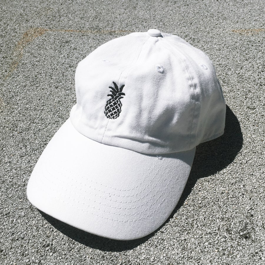 Image of Dancing Pineapple White 6 Panel Hat