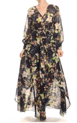 Image of Navy Floral Print Maxi