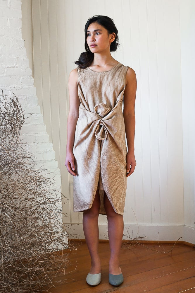 Origami Dress- Sleeveless Walnut