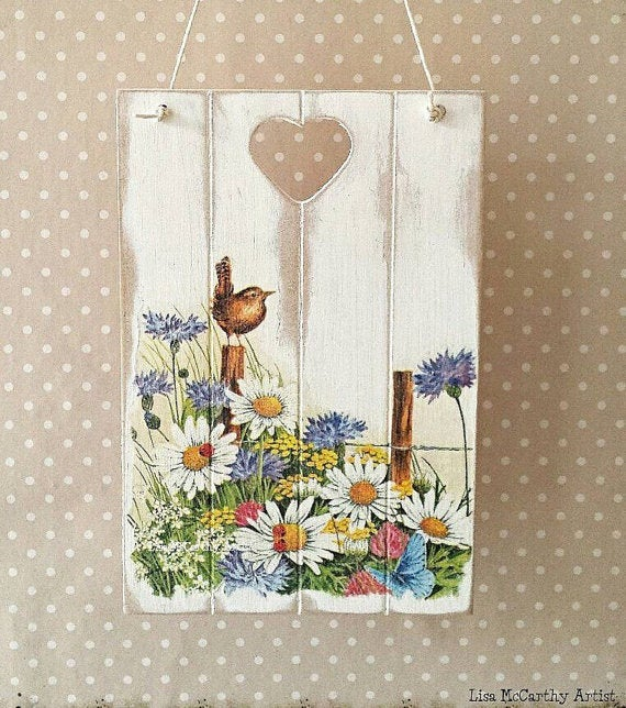 Wooden Wall Plaque, Shabby Rustic, Chic Cottage Style, Rustic Wood  Decoupage, Keepsake Gift