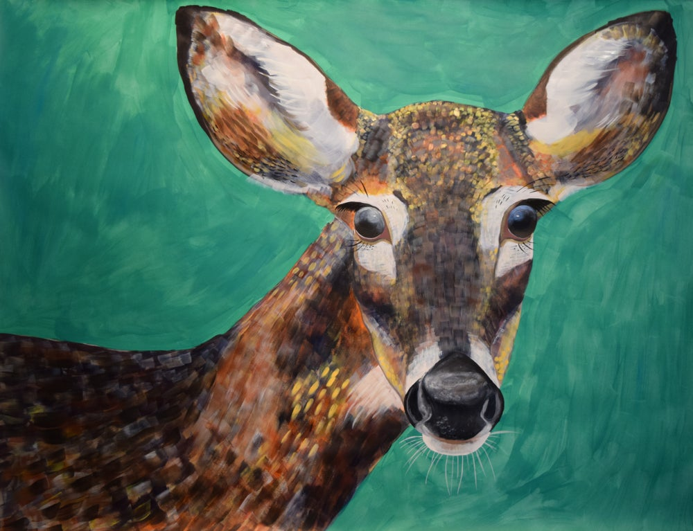 Image of Original Deer painting by Natalie Wright Wildlife Art Acrylic on paper