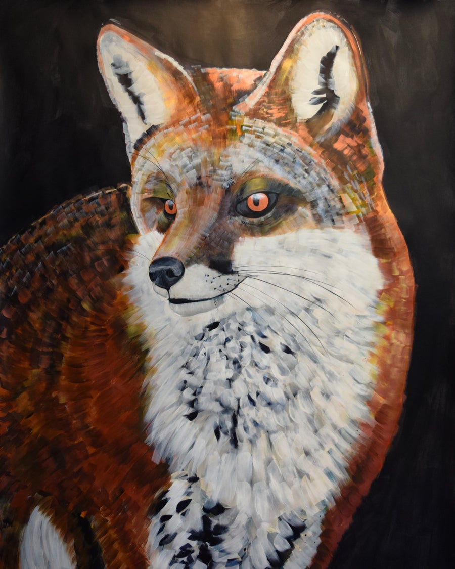 Image of Original Fox Painting by Natalie Wright Wildlife Fine Art Large scale art