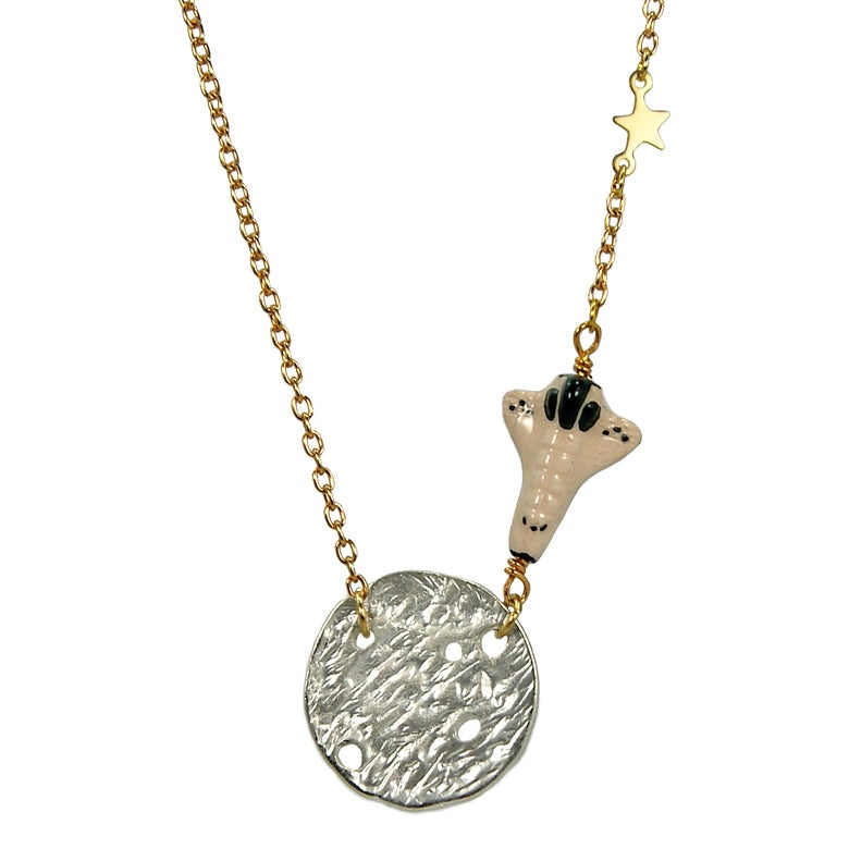 Image of Lunar Landing Moon and Space Shuttle Necklace