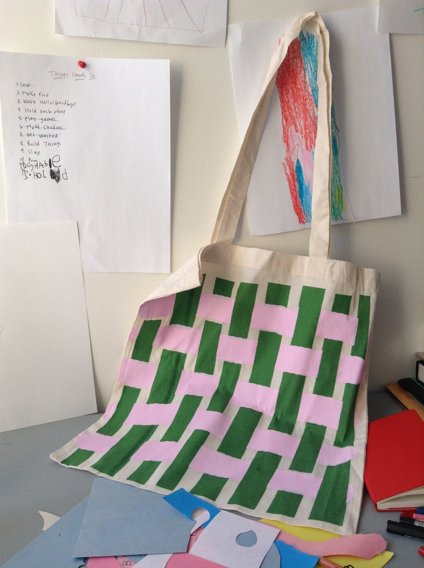 Image of Worm Weave/Quadrille Tote