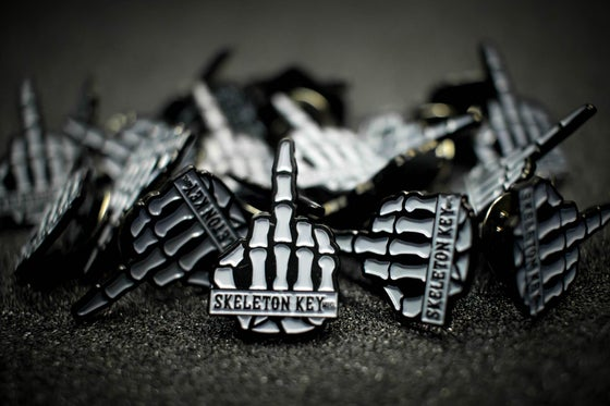 Image of SKELETON KEY MFG ENAMEL MIDDLE FINGER PINS