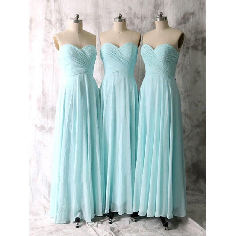 Simple Mint Blue Sweetheart Long Chiffon Prom Dresses, Bridesmaid Dresses, Party Dresses