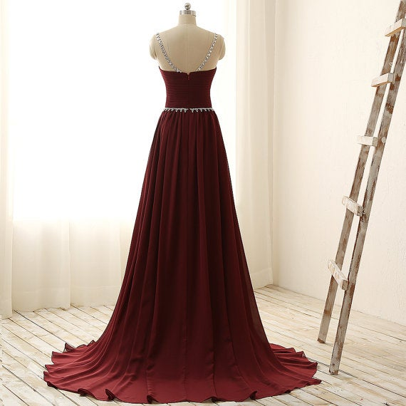 Charming Chiffon Maroon Long Chiffon Prom Gown, Maroon Prom Dresses, Party Dresses