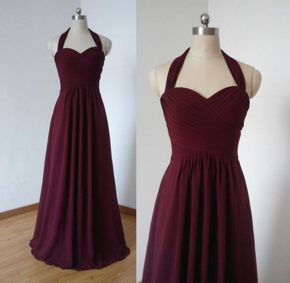 Simple Chiffon Handmade Burgundy Party Dresses, Bridesmaid Dresses, Party Dresses