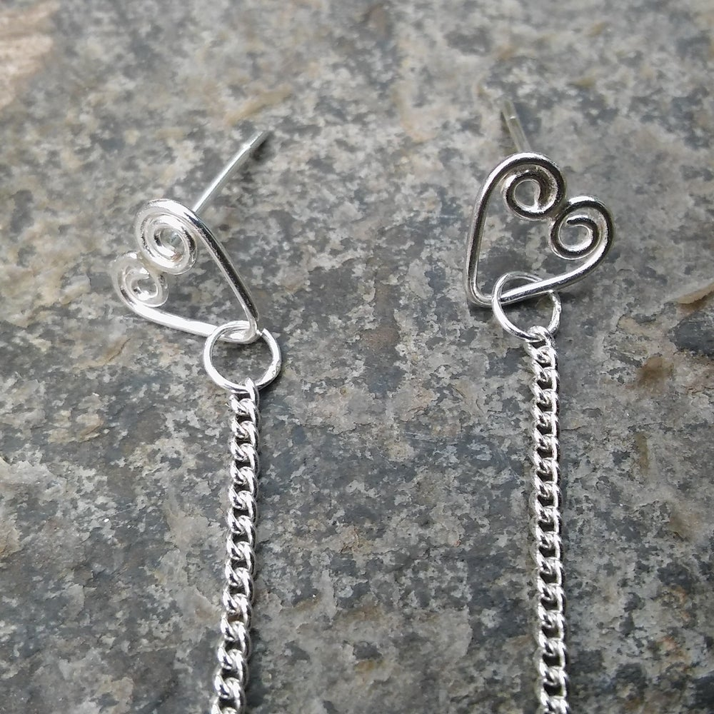 Image of Oak Leaf and Heart Drop Earrings