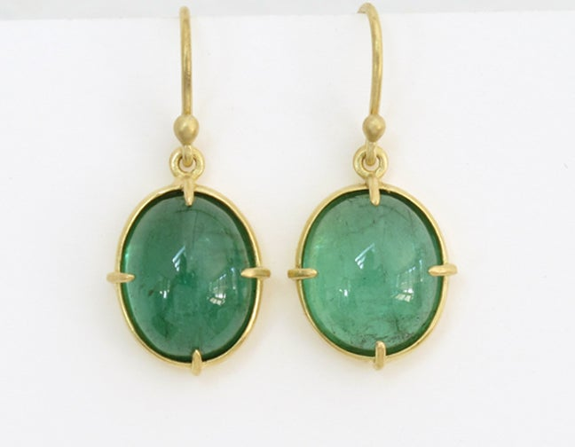 Image of Tourmaline Green Cabochon 18k Minimal Earrings