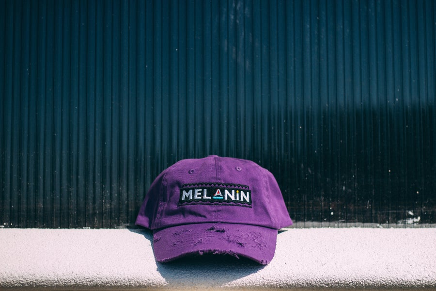 "Image of ""Martin"" Purple Melanin distressed hat"