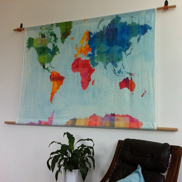 World map wall hanging small and large the organic mamas image of world map wall hanging small and large gumiabroncs Image collections